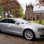 Silver Audi car hire for a wedding