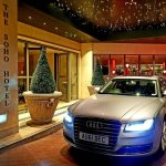 Silver Audi hire outside The Soho Hotel