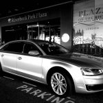 Black and white image outside Riverbank Park Plaza in London
