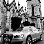 Black and white image of Audi car