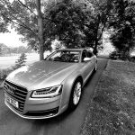 Black and white image of an Audi car