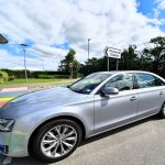 Silver Audi outside Pinewood Studios